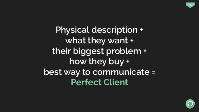 72 Physical description + what they want + their biggest problem + how they buy + best way to communicate = Perfect Client