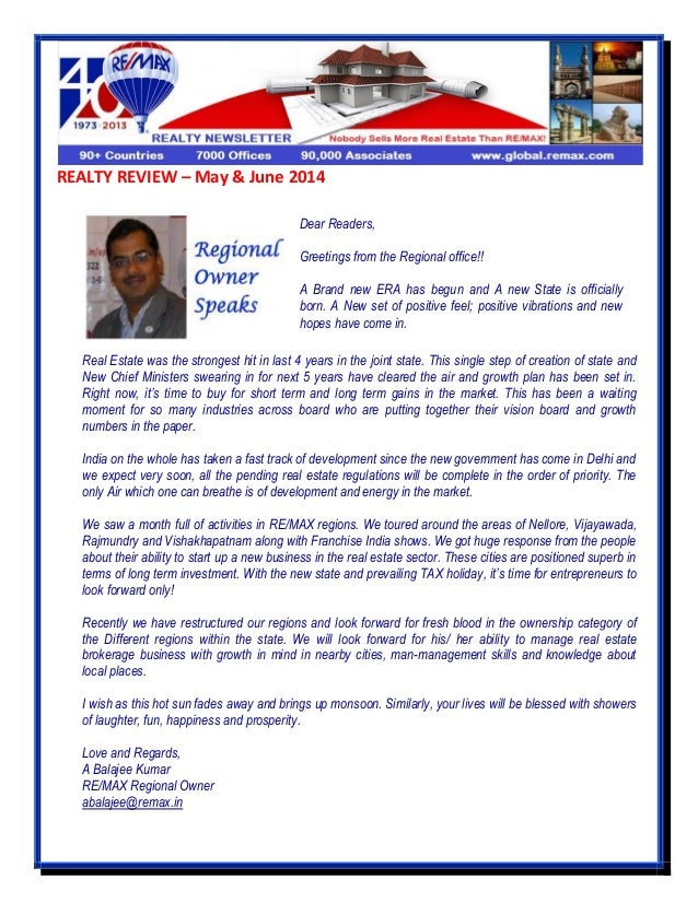 REALTY REVIEW – May & June 2014 Real Estate was the strongest hit in last 4 years in the joint state. This single step of ...
