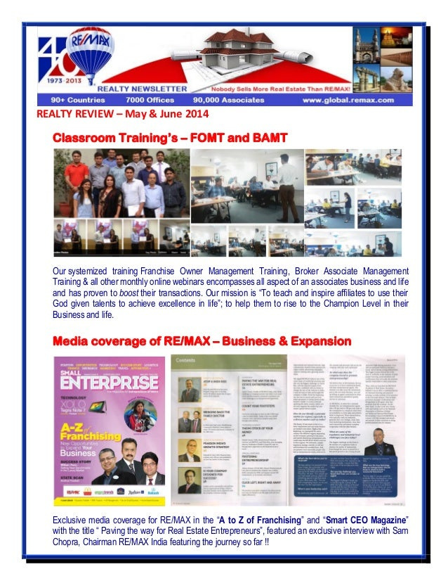 REALTY REVIEW – May & June 2014 Classroom Training's – FOMT and BAMT Our systemized training Franchise Owner Management Tr...