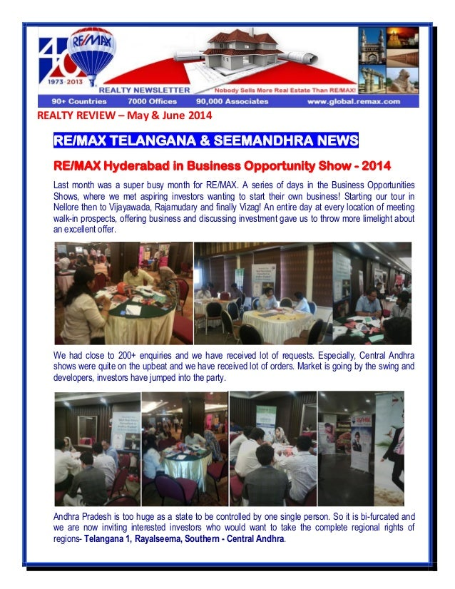 REALTY REVIEW – May & June 2014 RE/MAX TELANGANA & SEEMANDHRA NEWS RE/MAX Hyderabad in Business Opportunity Show - 2014 La...