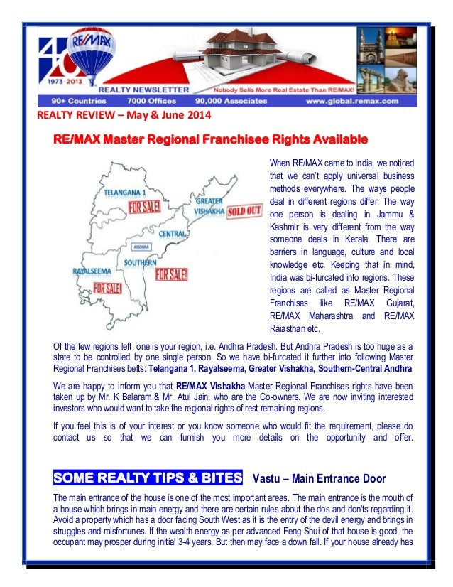 REALTY REVIEW – May & June 2014 RE/MAX Master Regional Franchisee Rights Available Of the few regions left, one is your re...
