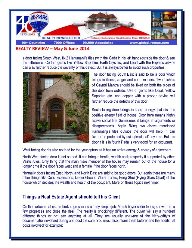 REALTY REVIEW – May & June 2014 a door facing South West, fix 2 Hanumanji's tiles (with the Gada in his left hand) outside...