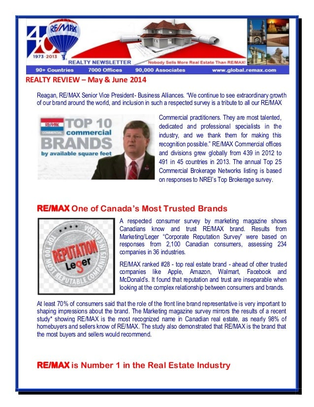 """REALTY REVIEW – May & June 2014 Reagan, RE/MAX Senior Vice President- Business Alliances. """"We continue to see extraordinar..."""