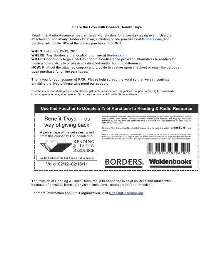 Share the Love with Borders Benefit DaysReading & Radio Resource has partnered with Borders for a two-day giving event. Us...