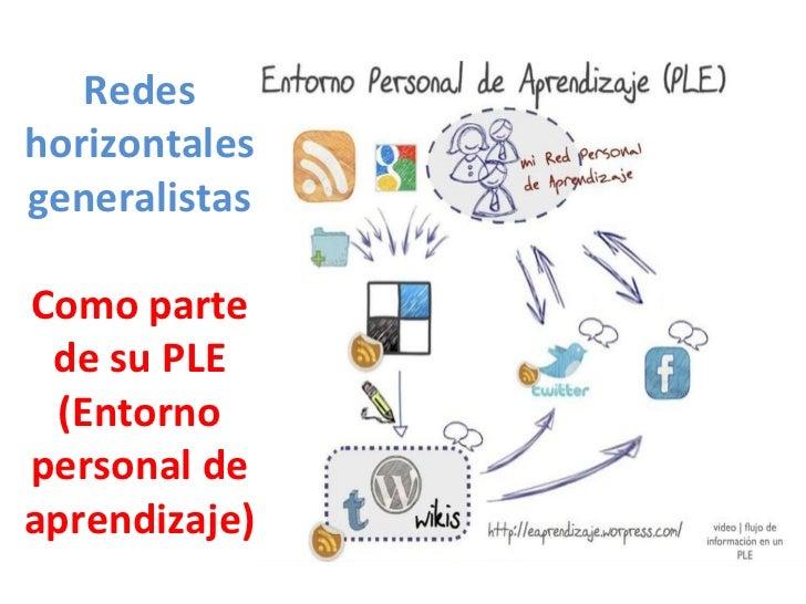 Redes horizontales generalistas Como parte de su PLE (Entorno personal de aprendizaje)