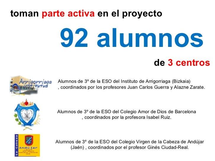 toman  parte activa  en el proyecto  92 alumnos de  3 centros Alumnos de 3º de la ESO del Instituto de Arrigorriaga (Bizka...