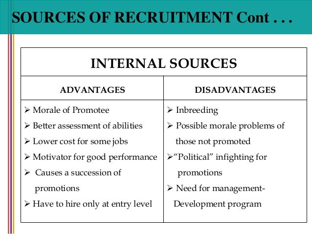internal and external recruitment For the retail industry, the question of whether to use external or internal sources  of recruitment can best be answered at the level of individual organization,.