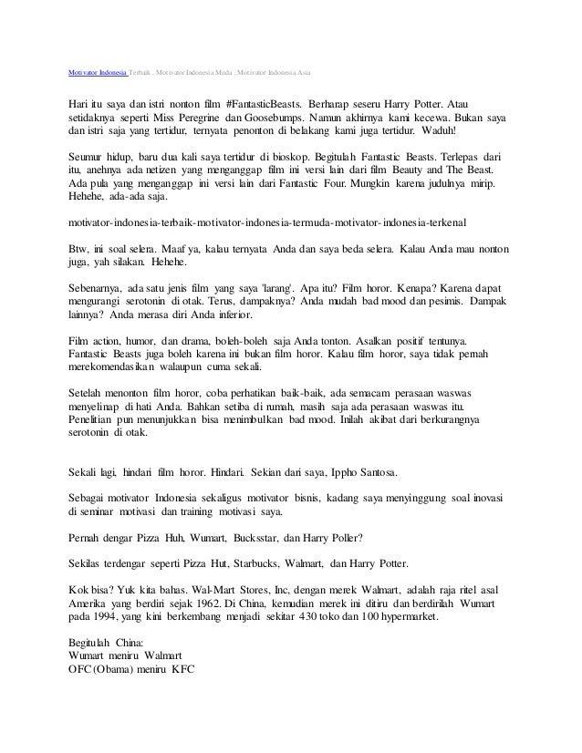 Motivator Indonesia Terbaik , Motivator Indonesia Muda , Motivator Indonesia Asia Hari itu saya dan istri nonton film #Fan...