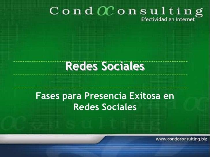 Redes Sociales  Fases para Presencia Exitosa en         Redes Sociales