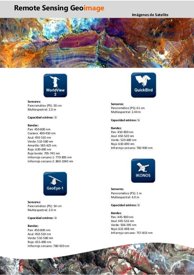 Remote Sensing Geoimage procesamiento de imágenes de satelite ficha tecnica worldview quickbird ikonos geoeye ASTER landsa...