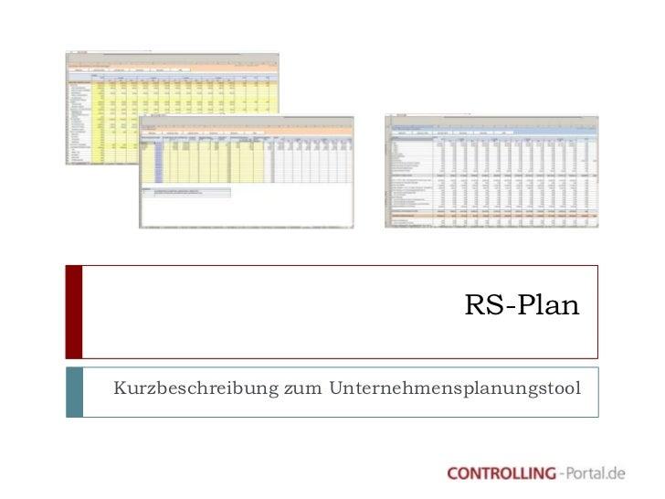 RS-PlanKurzbeschreibung zum Unternehmensplanungstool