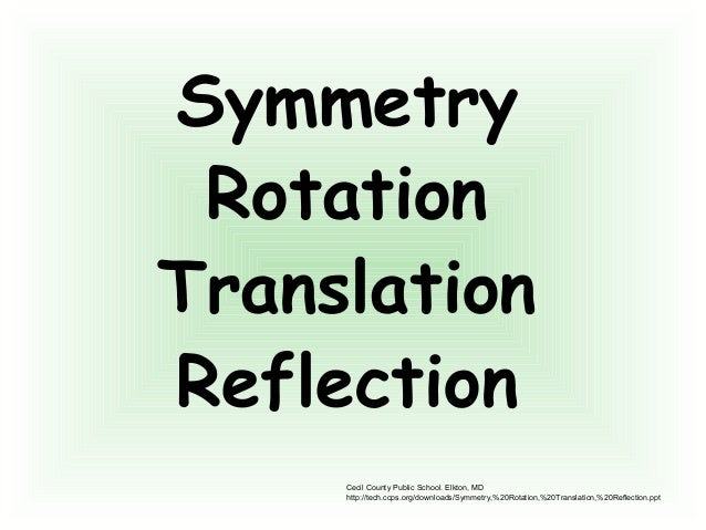 Symmetry Rotation Translation Reflection Cecil County Public School. Elkton, MD http://tech.ccps.org/downloads/Symmetry,%2...