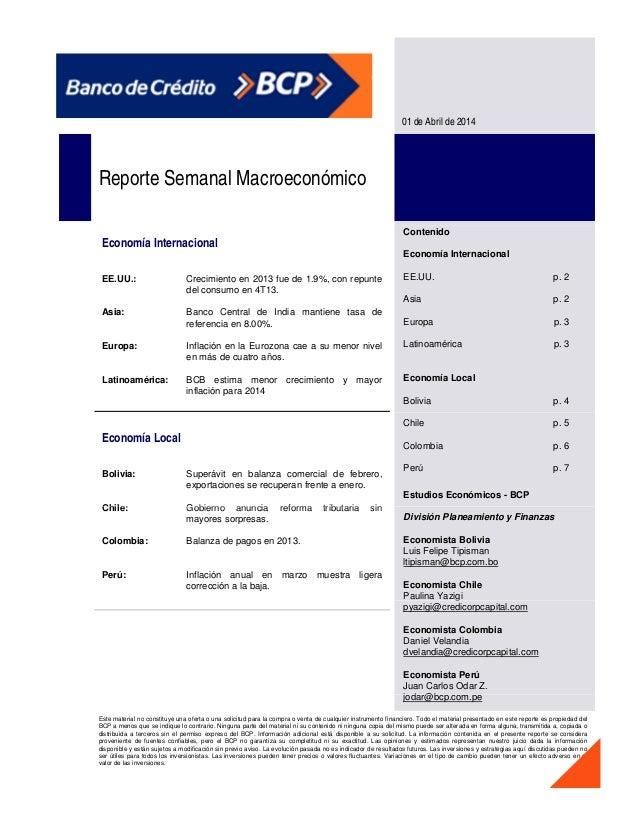 01 de Abril de 2014 Reporte Semanal Macroeconómico Economía Internacional EE.UU.: Asia: Crecimiento en 2013 fue de 1.9%, c...
