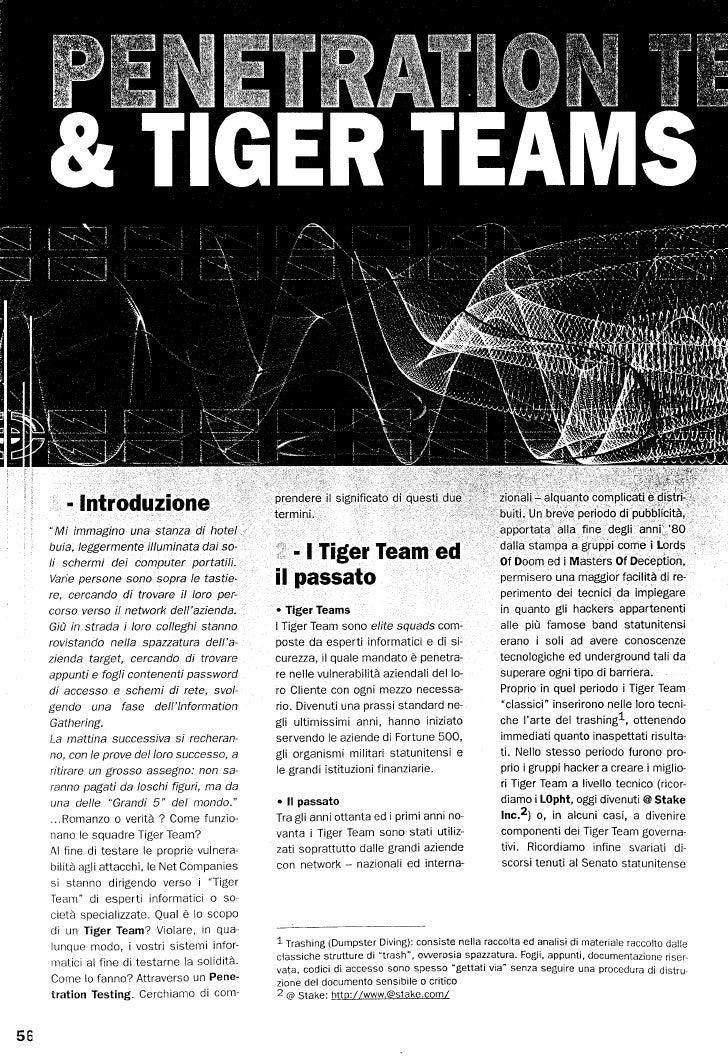 ICT Security Magazine: Penetration testing e tigerteam
