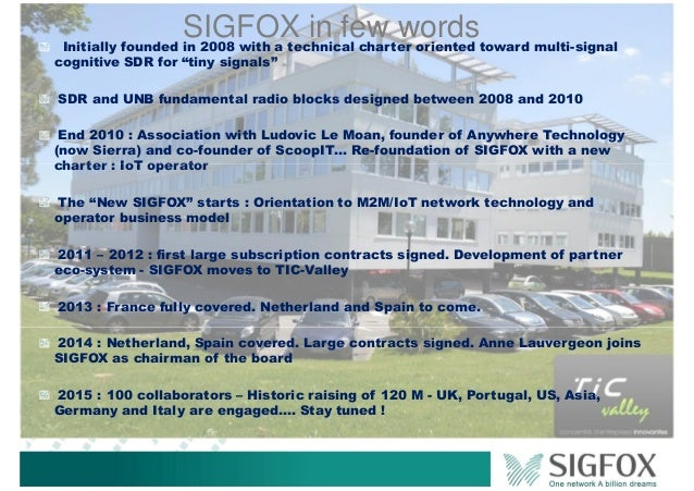 """SIGFOX in few wordsInitially founded in 2008 with a technical charter oriented toward multi-signal cognitive SDR for """"tiny..."""