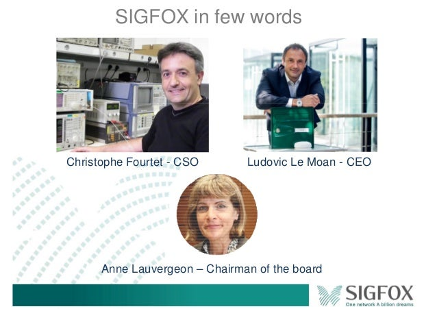 SIGFOX in few words Christophe Fourtet - CSO Ludovic Le Moan - CEO Anne Lauvergeon – Chairman of the board