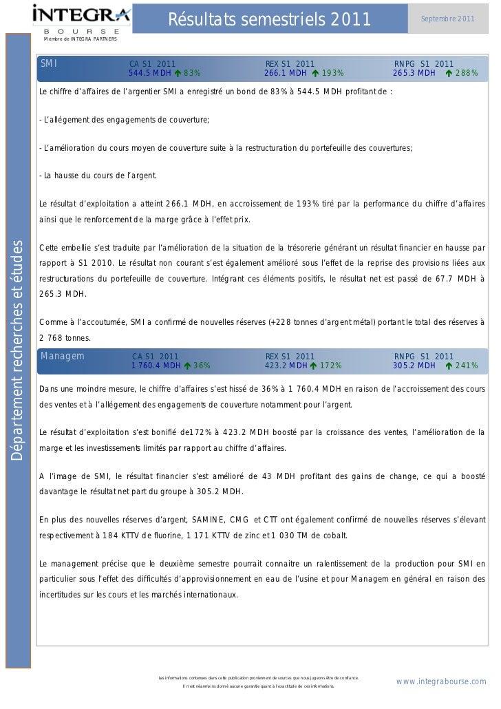 Résultats semestriels 2011                                                                                      Septembre ...