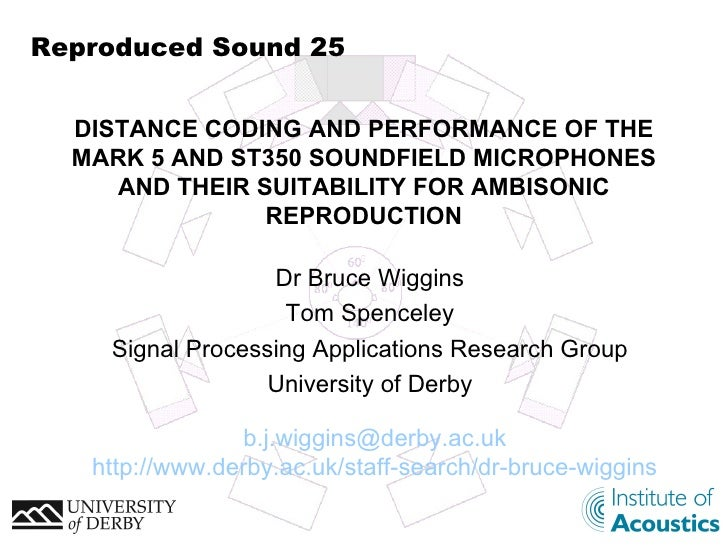 Reproduced Sound 25 Dr Bruce Wiggins Tom Spenceley Signal Processing Applications Research Group University of Derby DISTA...