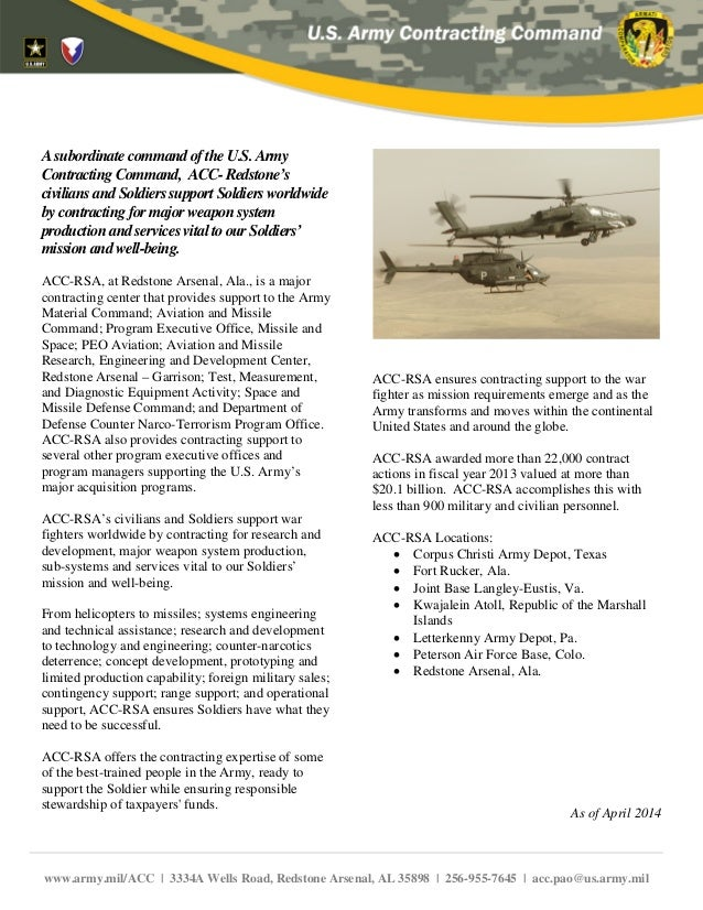 AsubordinatecommandoftheU.S.Army ContractingCommand, ACC-Redstone's civiliansandSoldiers support Soldiers worldwide bycont...