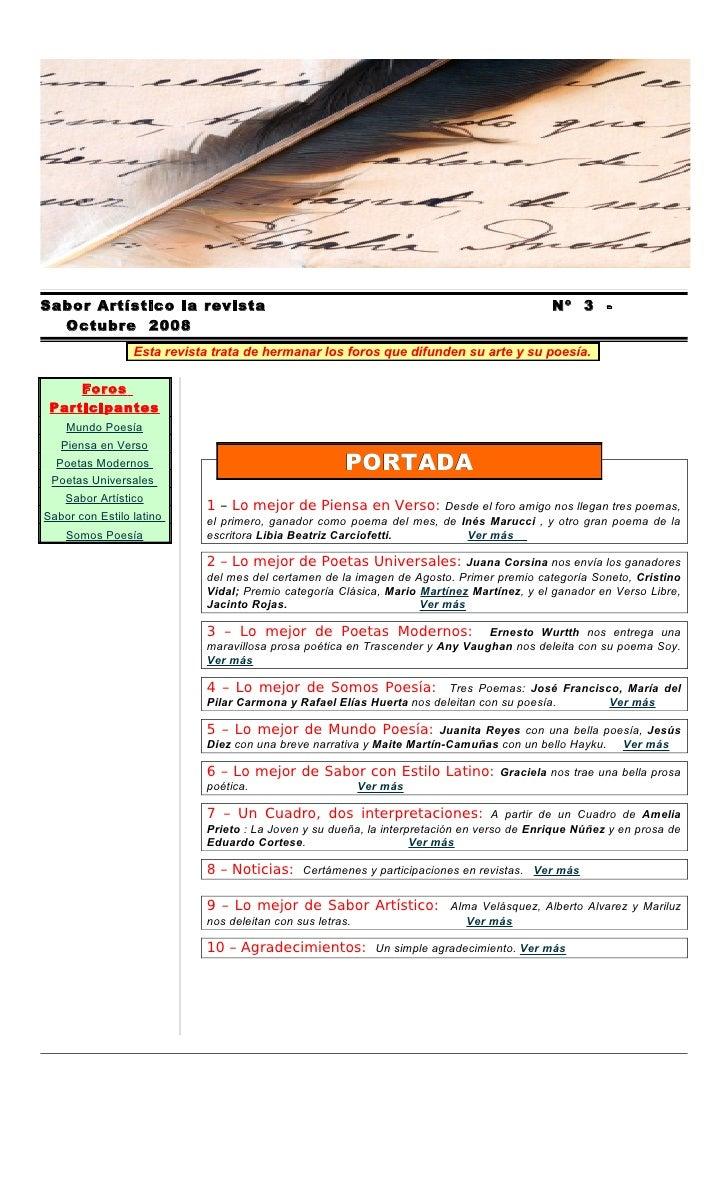 Sabor Artístico la revista                                                                 Nº 3 -   Octubre 2008          ...