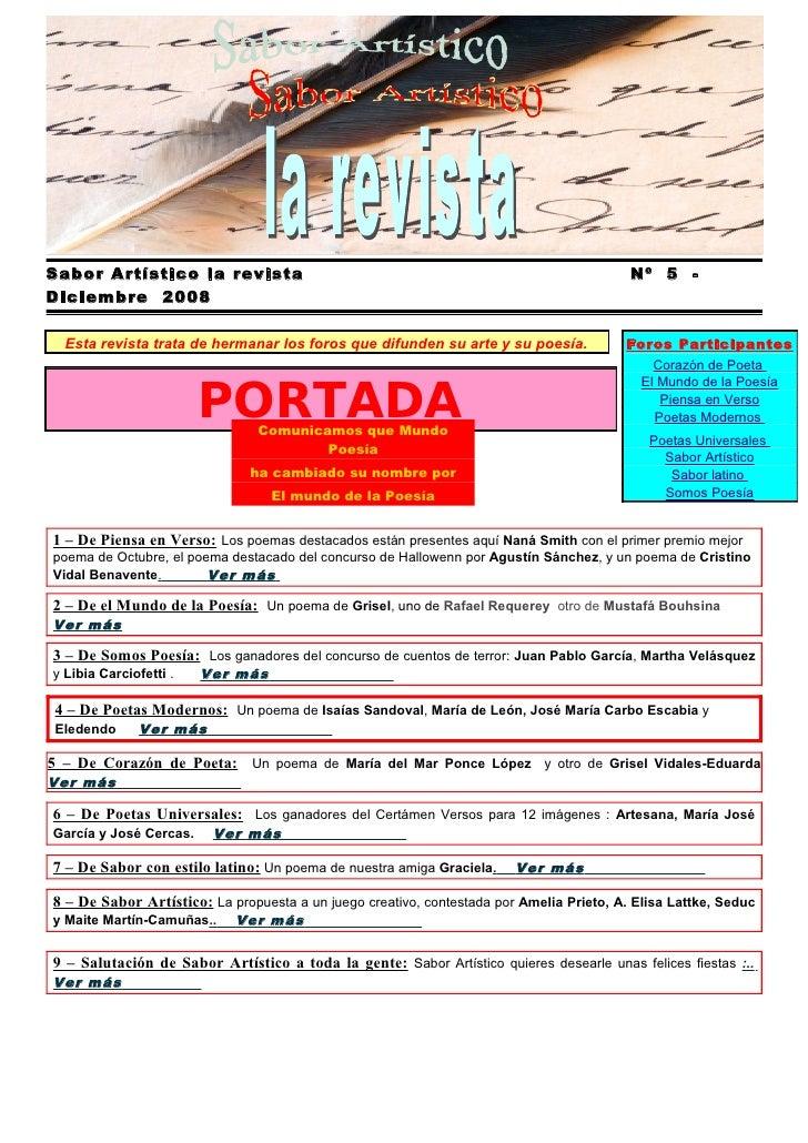 Sabor Artístico la revista                                                                Nº 5 - Diciembre 2008    Esta re...