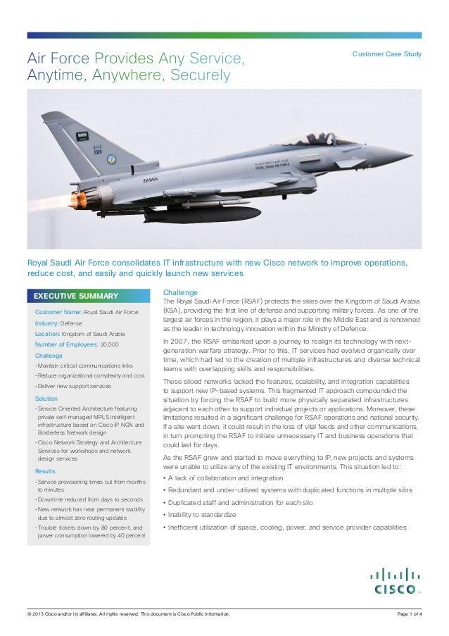 EXECUTIVE SUMMARY Challenge The Royal Saudi Air Force (RSAF) protects the skies over the Kingdom of Saudi Arabia (KSA), pr...