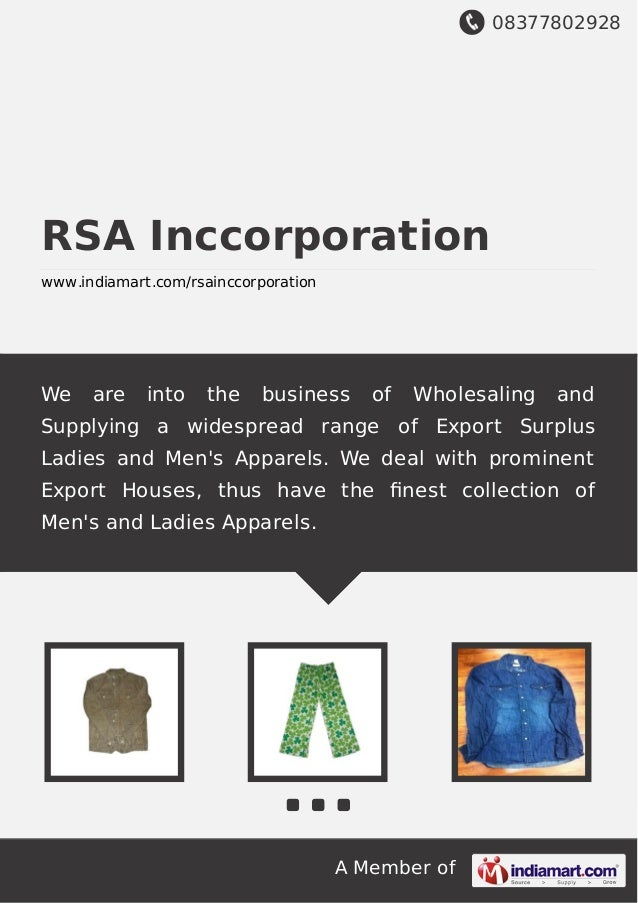 08377802928 A Member of RSA Inccorporation www.indiamart.com/rsainccorporation We are into the business of Wholesaling and...