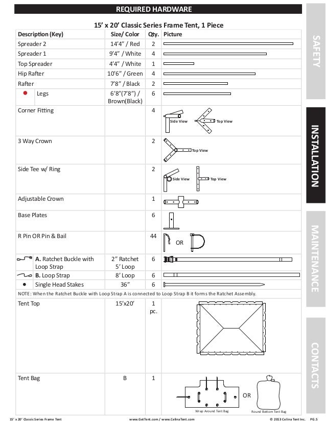 15\' x 20\' Frame Tent Installation Instructions
