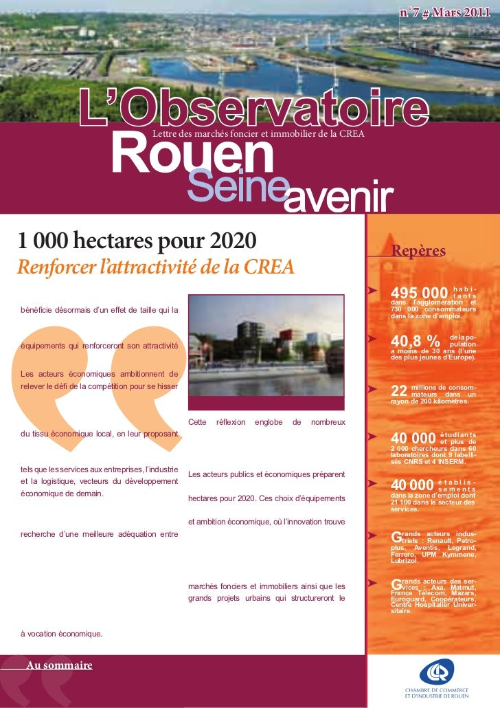 n˚7 # Mars 2011                 L'Observatoire           Lettre des marchés foncier et immobilier de la CREA1 000 hectares...