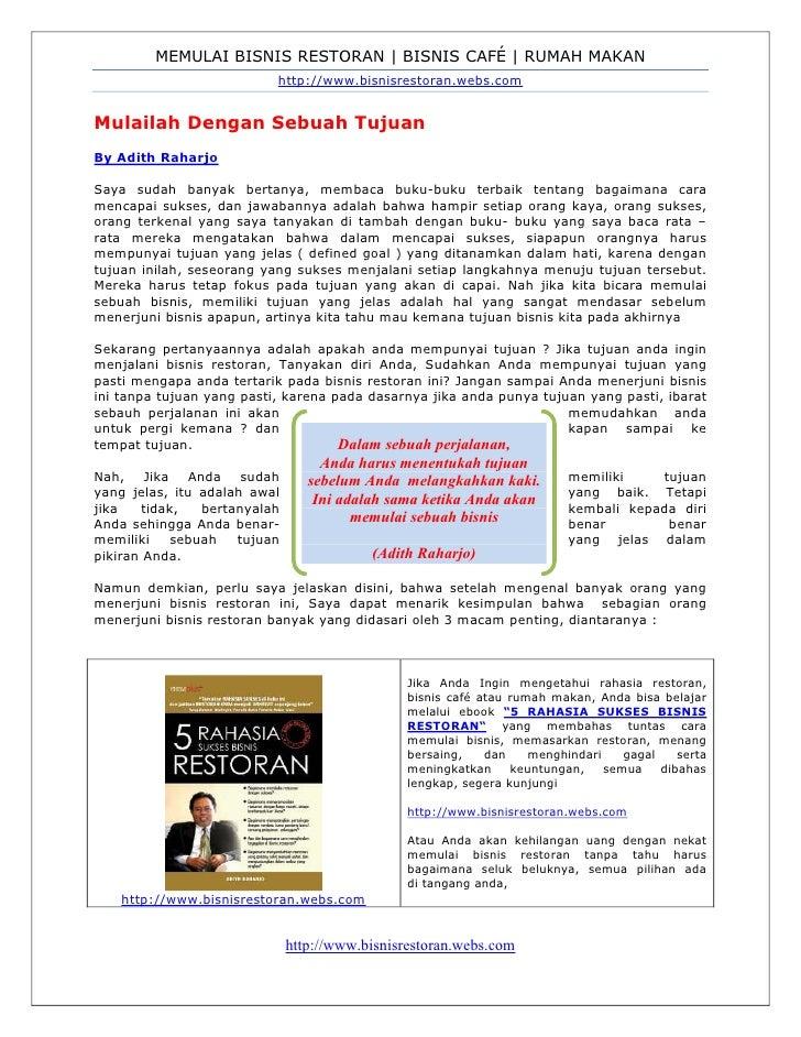 MEMULAI BISNIS RESTORAN | BISNIS CAFÉ | RUMAH MAKAN                            http://www.bisnisrestoran.webs.com   Mulail...