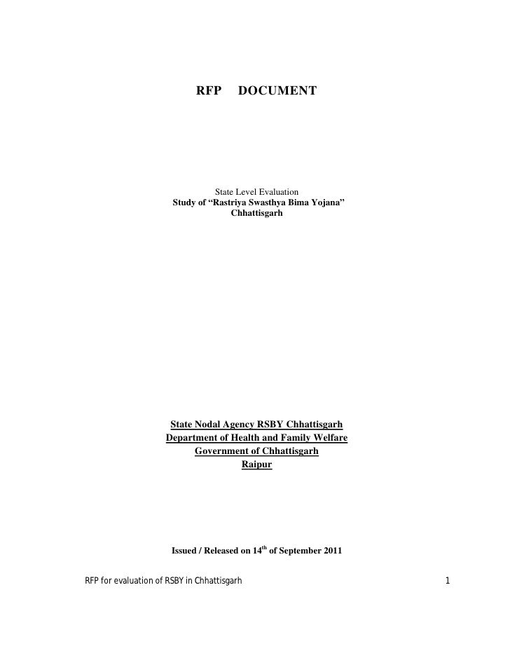 "RFP        DOCUMENT                                 State Level Evaluation                       Study of ""Rastriya Swasth..."