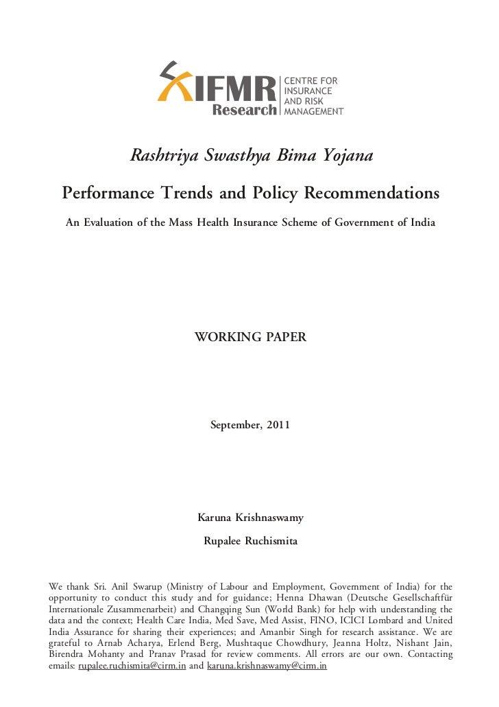 Rashtriya Swasthya Bima Yojana   Performance Trends and Policy Recommendations    An Evaluation of the Mass Health Insuran...