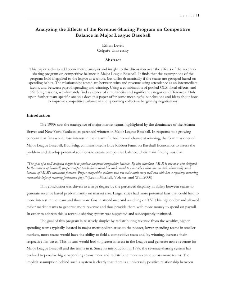 Le vitt |1      Analyzing the Effects of the Revenue-Sharing Program on Competitive                        Balance in Majo...