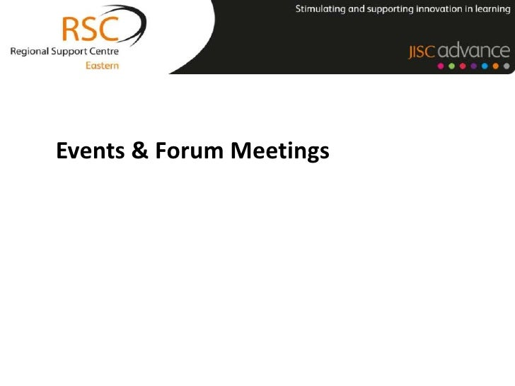 The Services<br />Events & Forum Meetings<br />