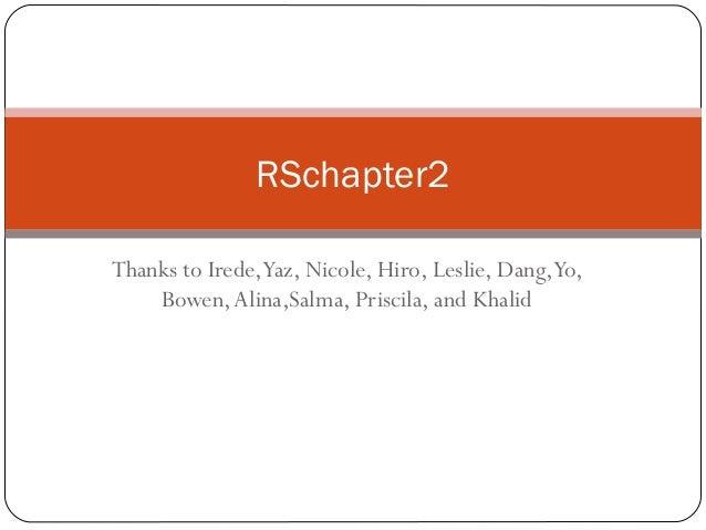 Thanks to Irede,Yaz, Nicole, Hiro, Leslie, Dang,Yo, Bowen,Alina,Salma, Priscila, and Khalid RSchapter2