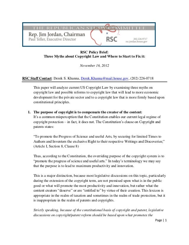 RSC Policy Brief:             Three Myths about Copyright Law and Where to Start to Fix it:                               ...