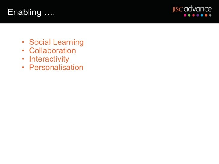 Enabling …. <ul><ul><li>Social Learning </li></ul></ul><ul><ul><li>Collaboration </li></ul></ul><ul><ul><li>Interactivity ...