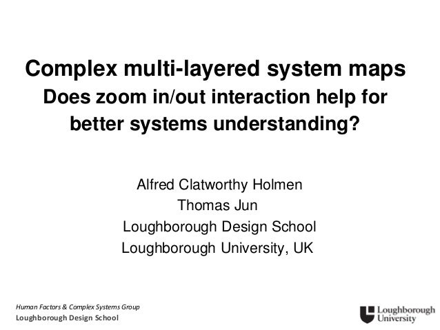 Human Factors & Complex Systems Group Loughborough Design School Complex multi-layered system maps Does zoom in/out intera...