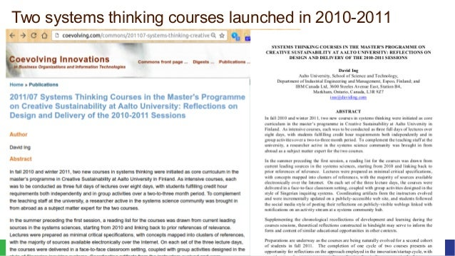 October 2016Curriculum Making for Trito Learning 4© 2016 David Ing + Susu Nousala Two systems thinking courses launched in...