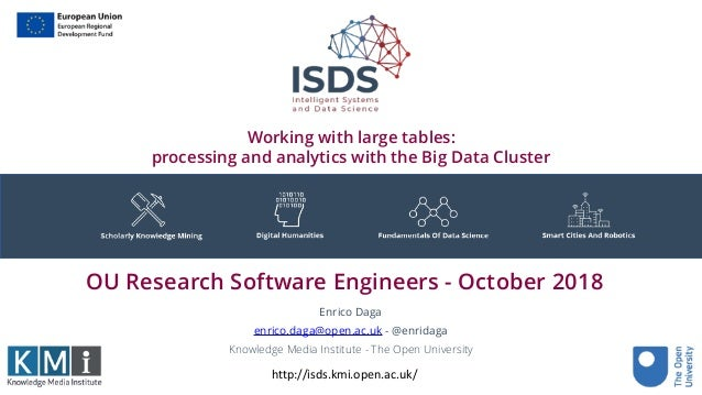 Working with large tables: processing and analytics with the Big Data Cluster Enrico Daga enrico.daga@open.ac.uk - @enrida...