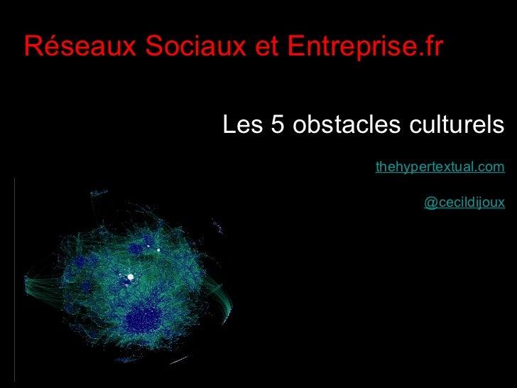 <ul><li>Réseaux Sociaux et Entreprise.fr </li></ul><ul><li>Les 5 obstacles culturels </li></ul><ul><li>thehypertextual.com...