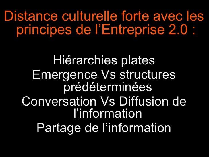Distance culturelle forte avec les principes de l'Entreprise 2.0 :  Hiérarchies plates Emergence Vs structures prédétermin...