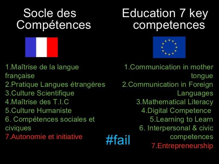1.Maîtrise de la langue française 2.Pratique Langues étrangères 3.Culture Scientifique 4.Maîtrise des T.I.C 5.Culture Huma...