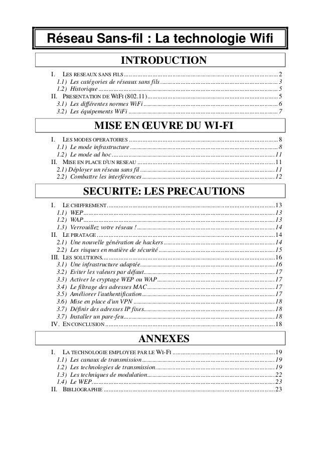 Réseau Sans-fil : La technologie Wifi INTRODUCTION I.  LES RESEAUX SANS FILS ................................................