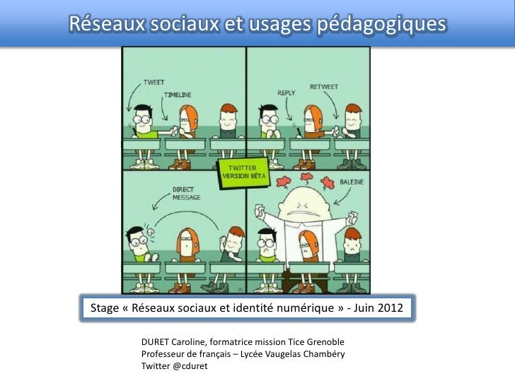 Réseaux sociaux et usages pédagogiques  Stage « Réseaux sociaux et identité numérique » - Juin 2012           DURET Caroli...