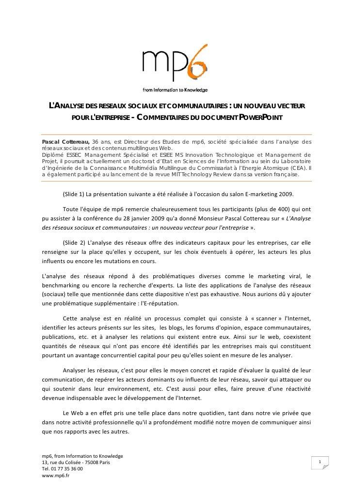 L'ANALYSE DES RESEAUX SOCIAUX ET COMMUNAUTAIRES : UN NOUVEAU VECTEUR         POUR L'ENTREPRISE - COMMENTAIRES DU DOCUMENT ...