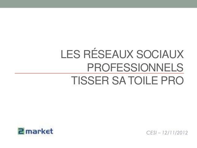 LES RÉSEAUX SOCIAUX     PROFESSIONNELS  TISSER SA TOILE PRO              CESI – 12/11/2012
