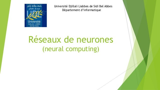 Réseaux de neurones (neural computing) Université Djillali Liabbes de Sidi Bel Abbes Département d'informatique