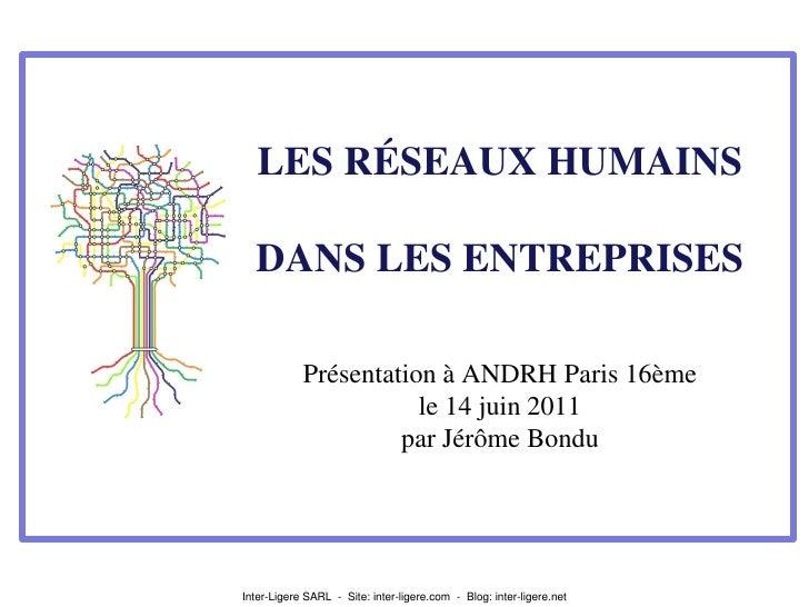 LES RÉSEAUX HUMAINS  DANS LES ENTREPRISES            Présentation à ANDRH Paris 16ème                       le 14 juin 201...
