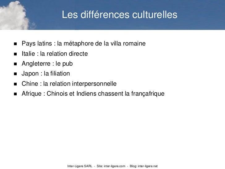 Les différences culturelles   Pays latins : la métaphore de la villa romaine   Italie : la relation directe   Angleterr...